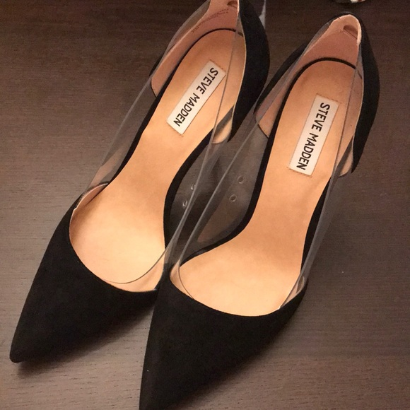 006e63962395 Steve Madden black   clear pumps